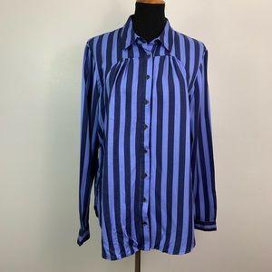 Maeve Anthropologie | Blue Stripe Button Shirt L